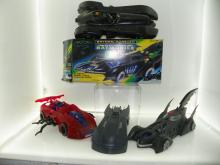 SUPER HERO LOT INCLUDING BATMOBILE MODEL, SPIDERMAN CAR