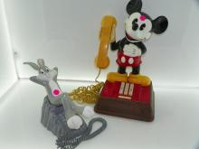 2 PC LOT INCLUDING MICKEY MOUSE PHONE & BUGS BUNNY PHON