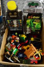BOX LOT OF VINTAGE TOYS INCLUDING ZIP/ZAPS MONSTER TRUC