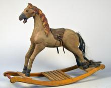 Hand Carved Wood Toy Rocking Horse w/ Yellow Painted
