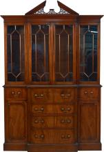 Wood & Glass Breakfront Cabinet Furniture