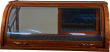 Oak Curved Glass Lever Action Countertop Showcase