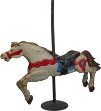 Painted Carved Wooden Carousel Horse On Metal Pole Base