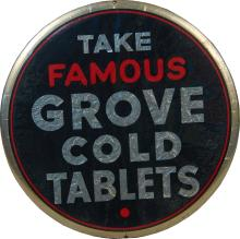 Take Famous Grove Cold Tablets Round Advertising Sign