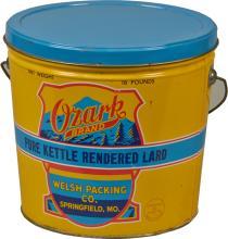 Ozark Brand Lard Cylinder Tin w/ Lid & Handle