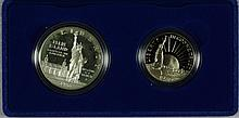 1986S Modern Commemoratives Commemoratives 2pc Ellis Island Dollar & Liberty 50c PF