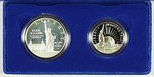 1986S Modern Commemoratives Commemoratives 2pc Ellis Island Dollar & Liberty 50c PF-66