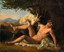 """Otto Meyer, """"Bukolische Szene"""", , Oil on canvas. R"""
