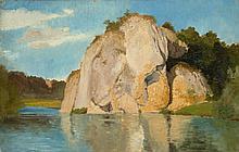 August Becker, Amalienfelsen, , Oil on paper laid