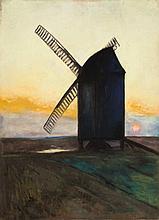 Lesser Ury,  Bockwindmühle vor Sonnenuntergang , S