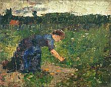 Lesser Ury, Frau bei der Gartenarbeit, Signed and