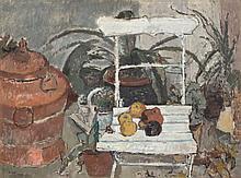 Otto Niemeyer-Holstein,  Äpfel liegen auf einem Ga