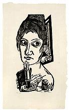 Max Beckmann,  Frau mit Kerze , Signed, Woodcut on