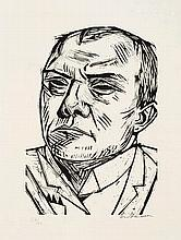 Max Beckmann,  Selbstbildnis , Signed, Woodcut on