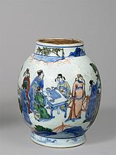 Wucai Vase with figures of scholars, Base mark: 11