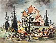 Christian Arnold,  Zerstörte Villa , Monogrammed (
