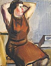 Curt Querner,  Sitzende in braunem Kleid, die Arme