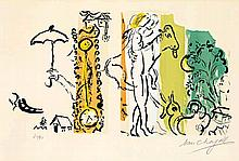 Marc Chagall,  Paysage aux Isbas , Signed, Colour