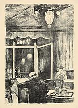 Lesser Ury,  Abend im Café Bauer in Berlin , Signe