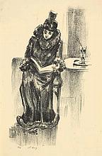 Lesser Ury,  Lesende Dame im Kaffee I , Signed, Li