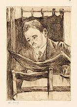 Lesser Ury,  Zeitungsleser im Kaffee mit Stuhllehn