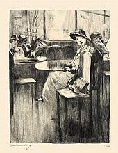 Lesser Ury,  Junges Mädchen im Kaffee mit Straßenb