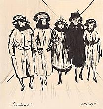 Otto Nagel,  Fräuleins , Titled and signed in the
