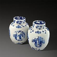 Chinese, Kangxi Period, Pair of blue and white gin