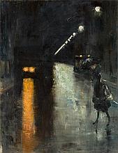 """Lesser Ury, """"Nächtliche Straßenszene, Berlin (Leip"""