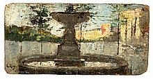 Lesser Ury, Springbrunnen in Rom(?), Signed lower