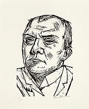 "Max Beckmann, ""Selbstbildnis"", Signed, Woodcut on"