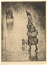 """Lesser Ury, """"Dame mit Pudel auf regennasser Straße"""
