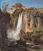 R Oswald Achenbach 1827-Dusseldorf-1905 WASSERFALL MIT ZWEI BADENDEN (ITALIEN). 1851 ol auf Leinwand. 32 x 26,5 cm (12.625 x 10.375 in.). Unten links signiert und datiert: Osw. Achenbach 1851. Ruckseitig auf dem Keilrahmen alter Aufkleber mit