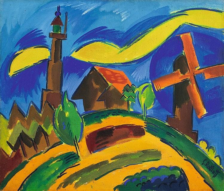 """Schmidt-Rottluff, Karl 1884 - 1976 """"Landschaft mit Leuchtturm und Windmühle"""