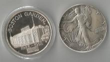 Coins.  2-Silver Dollars. 1995 Boston Garden/Celtics + 1987