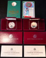 Lot of 3 Silver Commemorative Coins Olympics & Baseball