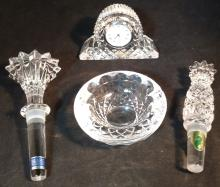 Group of 4 Waterford Crystal Pieces. Wine Stoppers,Etc.