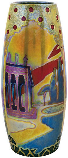 Zsolnay - Panorama vase with romantic landscape, Zsolnay, c. 1898