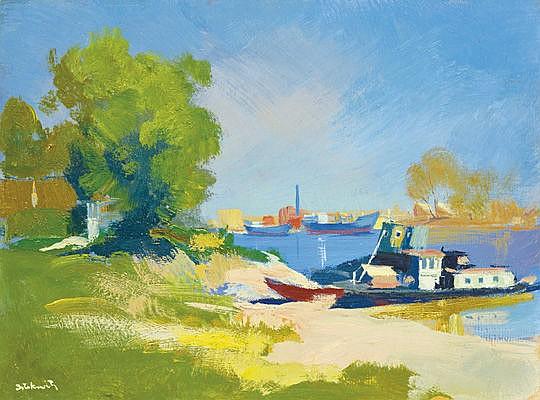 Istókovits Kálmán (1898-1990) - Dockyard bay, Budapest, 1956