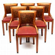 A walnut veneered Art Deco dining table with six