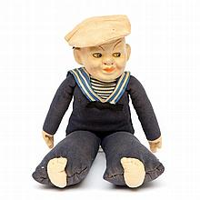 A cloth sailor doll produced for the Holland Ame