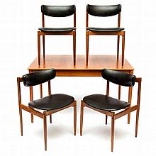 Thereca A teak dining table and four chairs, mark