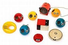 A collection of ten coloured plastic portable ra