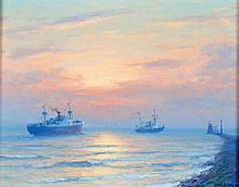 Henk Dekker (1897-1974) Zeegezicht met schepen bij