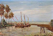 Arthur Eland (1884-1948) Vissersbootjes te Java. G