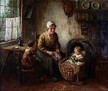 Cor Bouter (1888-1966) Larens interieur met moeder