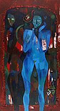 Wole Lagunju (1966-) 'Women'. Gesigneerd en gedate