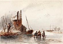 Cornelis Petrus 't Hoen (1814-1880) IJsgezicht met