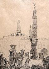 Marius Bauer (1867-1932) 'Moskee El Azhar'. Gemono