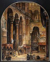 Jan Cossaar (1874-1966) Figuren in een kerkinterie